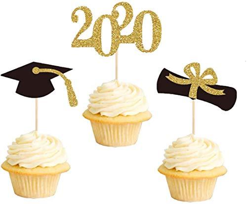 Losuya 24tlg Abschluss Kuchen Topper für 2020 Abschlussfeier Dekoartikel