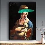 GZCJHP Cuadro sobre lienzo 60 x 90 cm sin marco Pop Art Leonardo Da Vinci La Dame con una Hermelin Cuadro de pared para el salón
