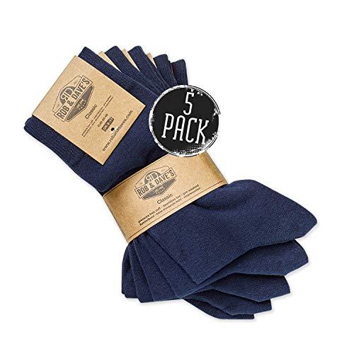 Rob und Dave's Classic Socken - 5 Paar - 43/46 - Marine - gekämmte Baumwolle - OEKO-TEX Qualität – nahtlos - unisex in schwarz und blau - ohne drückende Naht