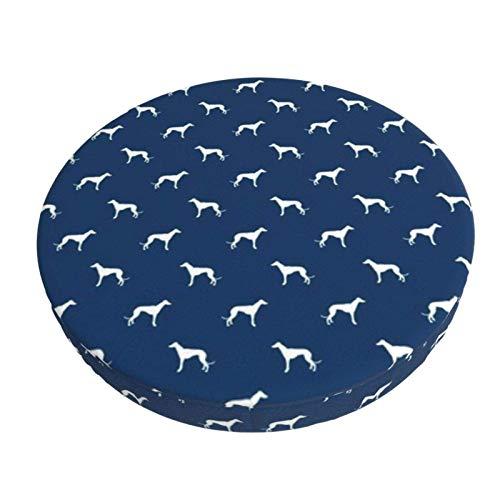 Gokruati Stretch Stuhlhussen Bezug Navy Blue Greyhound Dog Silhouette Voller Druck Husse für Stuhl rutschfest Bar Chair Cover