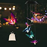 Prefectme Solar Butterfly Wind Chimes, Color Changing Butterfly Wind Chime for Garden with LED Lights, Waterproof Outside Decorative Light for Patio, Balcony, Party, Yard, Window & Gifts for Mom