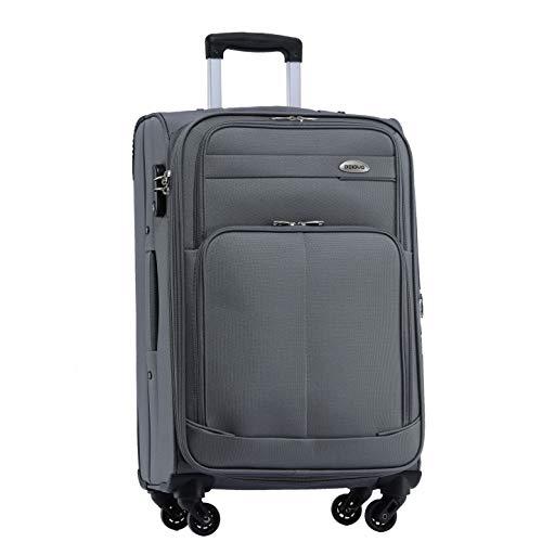 BEIBYE 4 Rollen Reisekoffer 3tlg.Stoffkoffer Handgepäck Kindergepäck Gepäck Koffer Trolley Set-XL-L-M (Grau, L-Mittlerer Koffer-64cm)