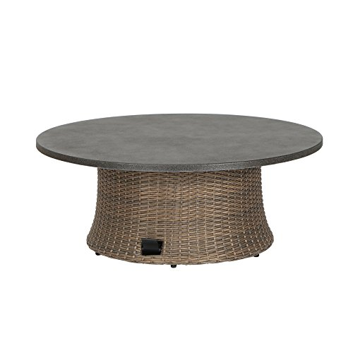 Siena Garden Lifttisch Teramo, Ø100x40/52/65cm, Gestell: Aluminium, pulverbeschichtet, Fläche: Gardino-Geflecht in bronze,Tischplatte: Spraystone