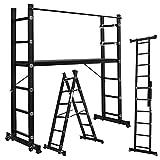 Froadp Andamios de Aluminio Trabajo Multipropósito con Tablero de MDF Antideslizante Capacidad de Carga 150kg Escalera Combinada Plegable con 2 Barras de Equilibrio y 2 Ruedas(2×6 peldaños, Negro)