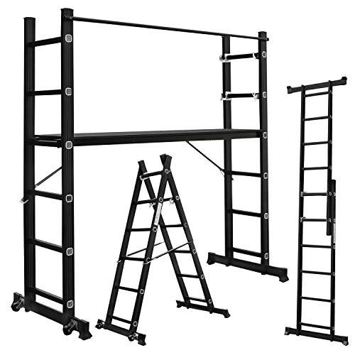 Aufun Alu Gerüst 3 in 1 Leitergerüst 2x6 Sprossen Baugerüst Leiter Stehleiter Klappleiter mit 1,47m Arbeitsplattform, 2 Rad, 2 Streben, Belastbarkeit bis 150KG, max Arbeitshöhe von 2,72m, Schwarz