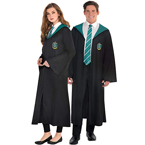 Party City Slytherin Robe Halloween Costume for Adults, Harry Potter, Standard Size (40-42) Features Crest and Hood