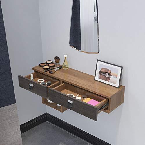 Tablette de coiffeuse d'armoire de maquillage murale Étagère flottante avec étagère murale à tiroir Armoire de rangement cosmétique Présentoir multi-cinétique ( Couleur : Noyer Couleur )