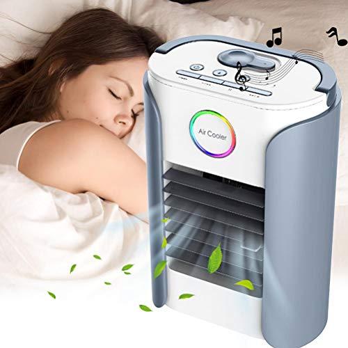 Gazaar Mini humidificador de ventilador de nebulización, multifuncional portátil Bluetooth música radio ahorra protección del medio ambiente, para sala de estar tocador