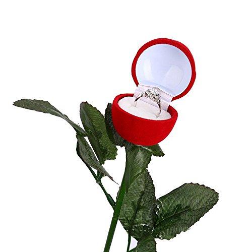 Felly Scatola Anello Rosa Rossa- 1 Pezzo Astuccio Gioielli Fiore Rosa Cofanetto per Matrimonio Anelli, San Valentino, Anello di Fidanzamento