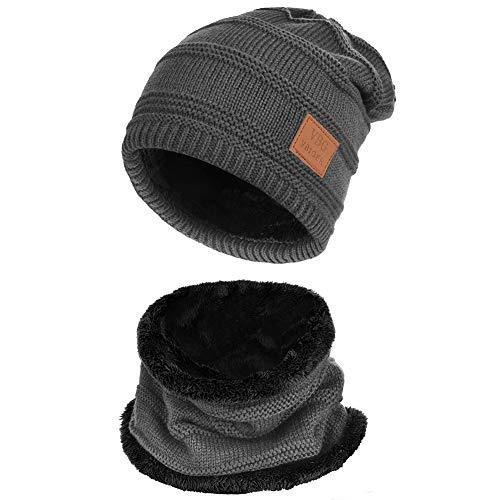 Vbiger Wintermütze Strickmütze Warme Beanie Winter Mütze und Schal mit Fleecefutter für Damen und Herren,S-dunkelgrau+,Einheitsgröße