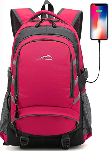 Backpack for School College Student Bookbag Travel Business with USB Charging Port Laptop Compartment Chest Straps Night Light Reflective Anti theft (Pink)