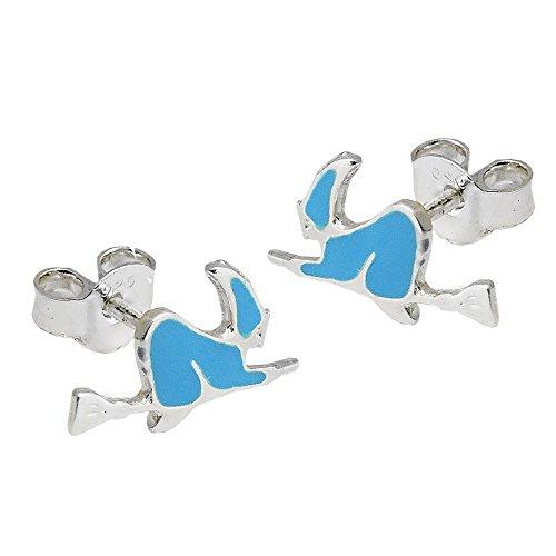 Ohrstecker Ohrringe Ohrschmuck Hexe auf dem Besen blau lackiert 925 Silber