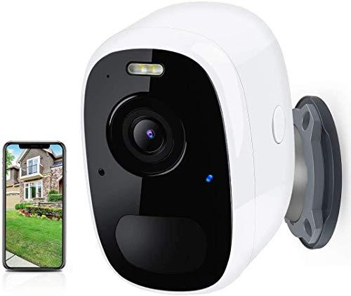 Cámara Vigilancia Exterior WiFi Batería Cámara IP Exterior, Camara Vigilancia WiFi Exterior1080p- Detección de Movimiento Monitorización-Visión Nocturna-Audio Bidireccional-Alarma Seguridad