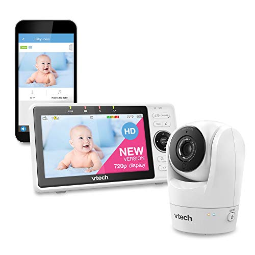 VTech Upgraded Smart Baby Monitor, 5-inch 720p Display, 1080p Camera, HD NightVision, Fully Remote Pan Tilt Zoom, 2-Way Talk, Free Smart Phone App, Works with iOS, Android, White