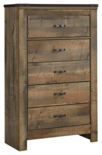 Ashley Furniture Signature Design - Trinell Chest - 5 Drawers - Nailhead Accents - Rustic Brown Finish - Antiqued Bronze Hardware