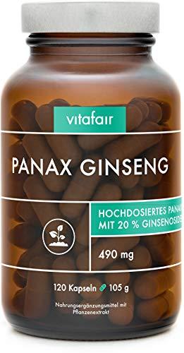 Panax Ginseng Extrakt - 490mg pro Tagesdosis - 120 Kapseln - 20% Ginsenoside = 98mg - Hochdosierter Roter Koreanischer Ginseng-Wurzel Extrakt - Vegan - Ohne Magnesiumstearat - German Quality