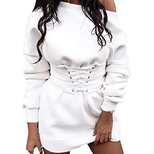Xmiral Damen Kleid Einfarbig Langarm Rundhals Pullover Kleid + Taillenband Gürtel Winter Mini Dick Lange Sweatshirt(Weiß,XL)