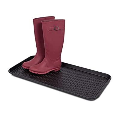 Internet's Best Multi-Purpose Boot & Shoe Tray | 30 x 15 Rectangle | Protects Floors from Water and Dirt | Waterproof for All Weather Indoor or Outdoor Use | Pet Bowl Mat