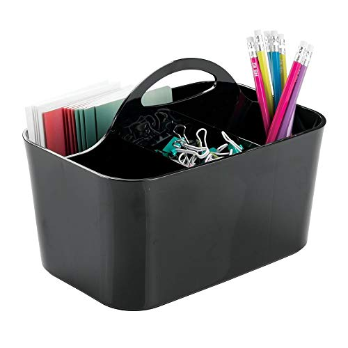 mDesign Small Office Storage Organizer Utility Tote Caddy Holder with Handle for Cabinets, Desks, Workspaces - Holds Desktop Office Supplies, Gel Pens, Pencils, Markers, Staplers - Cream