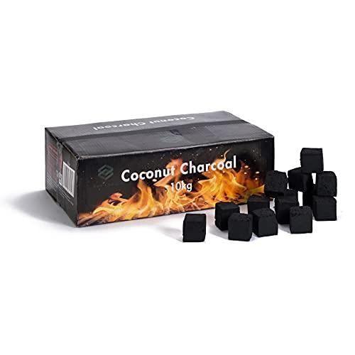 KEN CHIKU's - 10 KG Premium Shisha Kohle Naturkohle Kokosnuss und BBQ - Hochwertige Kokos Coal Briketts für Wasserpfeife & Grill - Shisha Würfel Kohlen & Grillkohle
