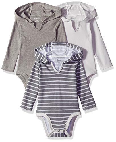 Hanes Ultimate Baby Flexy 3 Pack Hoodie Bodysuits, Grey Stripe, 0-6 Months