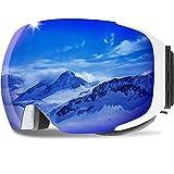 GANZTON Skibrille Anti Fog Snowboardbrille OTG Brillenträger UV-Schutz Snow Snowboard Brille Verspiegelt mit Magnetischer Gläser,Helmkompatible für Damen und Herren,Jungen und Mädchen(Weiß)