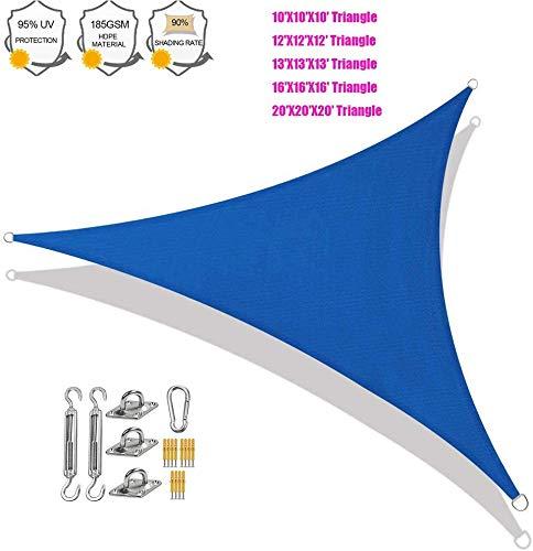 Beirich - Toldo triangular para toldo con kit de herramientas para exteriores, toldo triángulo de toldo, bloqueo UV, sombrilla, agua y aire, permeable, 16'X16'X16'(5mX5mX5m)