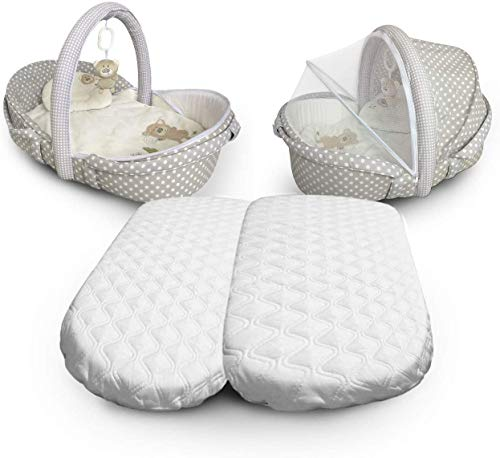Microfibre Hypoallergenic Moses Basket Mattress Will Fit Mamas & Papas and Mothercare Pram Mattress Oval Shaped Moses Baskets (74 x 28 x 4cm)