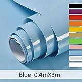 Hode Selbstklebende Klebefolie Undurchsichtige Folie Möbelfolie für Küche Wände Schrank Wasserdicht Vinyl Blau 40cmX300cm Mit Glitzer