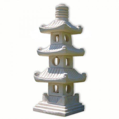 wifash Pagoda, decoración de jardín Lámpara Japonesa Blanca 3 Niveles, Farol Importado de Tailandia (10511)
