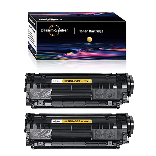 Dream-seeker Compatible con HP Q2612A FAX-9 FAX-10 Cartuchos de Tóner para HP LaserJet1020 1018 M1005 3015 1010 1015 1022 1012 con Canon FAXPHONE LBP-2900 LBP-3000 L120(2 Negro)