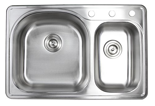 33 Inch Top-mount/Drop-in Stainless Steel 70/30 Double Bowl Kitchen Sink- 18 Gauge (3 Faucet Hole)