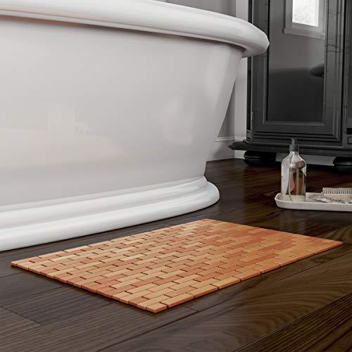 Lavish Home Bamboo Bath Eco-Friendly Natural Wooden Non-Slip Roll Up Lattice Design Mat for Indoor...