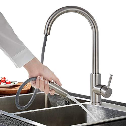 BONADE Hochdruck Wasserhahn Küche Ausziehbare Küchenarmatur mit Brause Einhebelmischer 360° Schwenkbare Spültischarmatur Edelstahl Mischbatterie mit 2 Strahlarten für Spülbecken