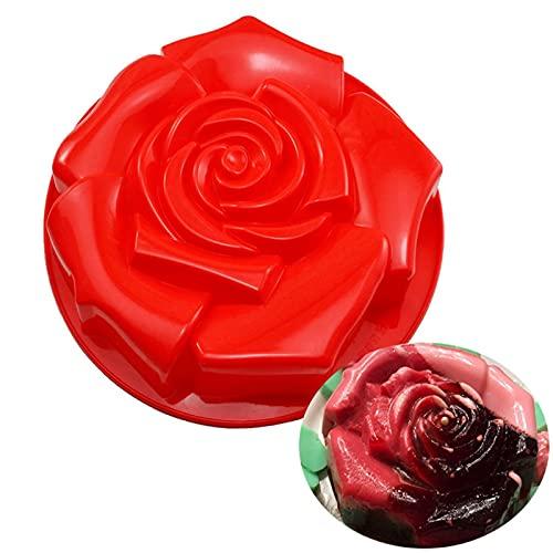 Rosa Flor Moldes para Tartas y Bizcochos de Silicona Reutilizables para Repostería, Moldes de Jabón de Silicona para Hacer Fondant, Dulces