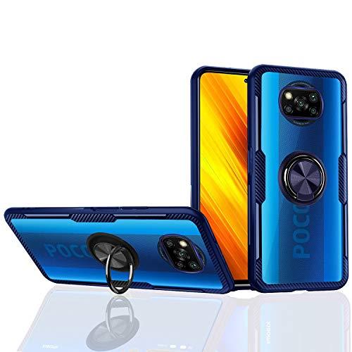 Hülle für XIAOMI Poco X3 Pro / X3 NFC - Klar Hartes Acryl Transparente Kratzfeste [Ring Ständer] Carbonfaser [Unterstützende Magnetische Adsorption] (POCO X3 NFC, Blau)