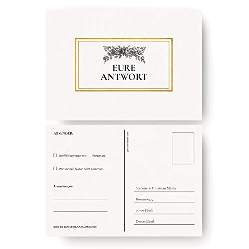 (10 x) Antwortkarte Hochzeit Hochzeitskarten Antwort Postkarte Karte Einladung - Gold
