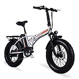 Bicicleta eléctrica para mujer de 500 W para adultos, ruedas pequeñas plegables, neumático grueso de 4,0, batería de litio de 48 V, bicicleta eléctrica plegable para playa, bicicleta eléctrica