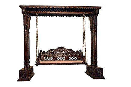 Jali Flower Design Wooden Carved Royal Swing Set / Indoor Jhula