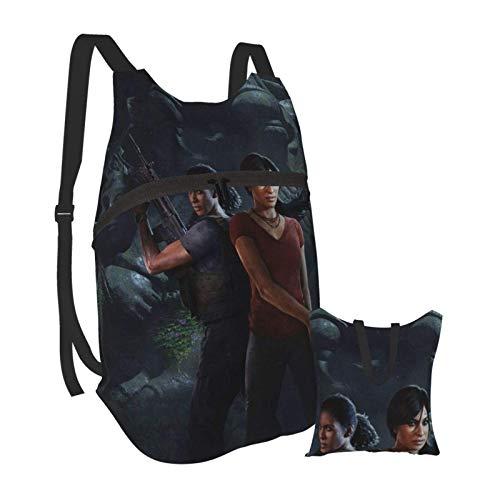 Uncharted Lost Legacy Faltbarer tragbarer Rucksack Lässige leichte Tasche Wasserdichtes HighCaity-Reisecamping für Rucksäcke von College-Studenten