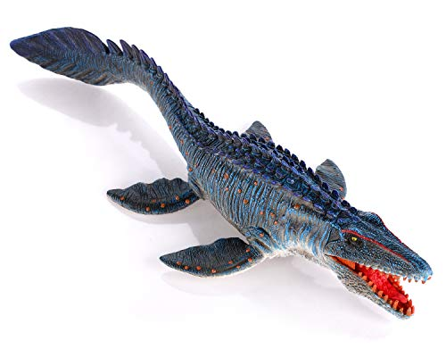 Gemini&Genius Coloured Mosasaurus Dinosaur with Movable Jaw Figurine Jurassic World Toys Hand-Painted Dino Action Figure Model Toys for Boys and Girls 4-12 Years Old