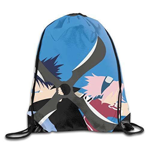 NARUTO Haruno Sakura Uchiha Sasuke hombres y mujeres de algodón puro, mochila con cordón para baloncesto, tenis, Gympack