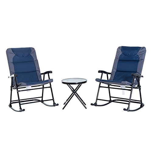Outsunny 3-Piece Folable Rocking Chair Outdoor Padded Bistro Set with Glass Top Table, Blue