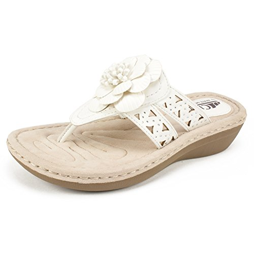 CLIFFS BY WHITE MOUNTAIN Shoes Cynthia Women's Sandal, White/Smooth, 8H M