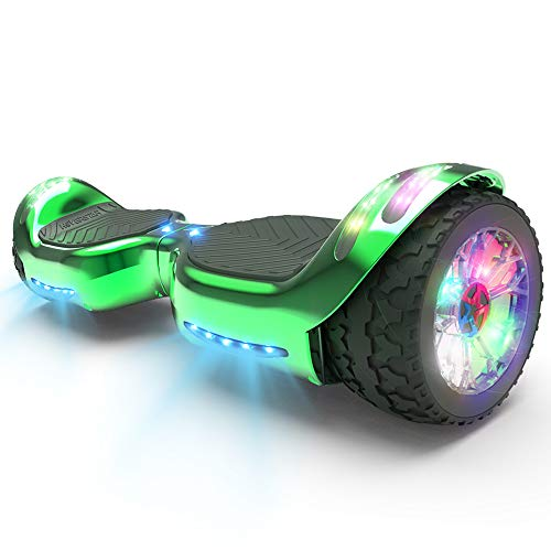 HOVERSTAR HS 2.0v Hoverboard All-Terrain Two Wide Wheels Design Self Balancing Flash Wheels Electric Scooter with Wireless Bluetooth Speaker and More LED Lights (Chrome Green)