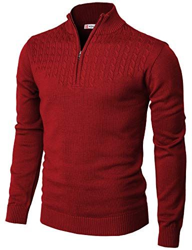 H2H Mens Casual Slim Fit Pullover Sweaters Mock Neck Zip up Various Patterned RED US XL/ 2XL (CMOSWL046)