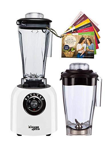 bianco di puro Originale inkl. Flower-Behälter plus Smoothie Rezeptbuch, Hochleistungsmotor 3.000-32.000 U/Min Smoothie-Maker 6 Mixprogramme 2-Liter Mixbehälter BPA-frei