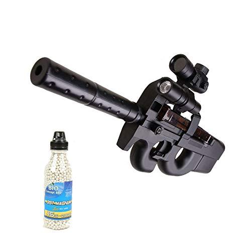 Well Airsoft Pack Rifle de Asalto D90H con silenciador de Sonido, lámpara, Redot eléctrico, Botella de 2000 Bolas ofrecidas (0.4 Julios)