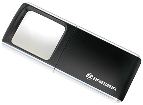 Bresser Lupe (3x 35x50 mm, mit Schiebemechanismus und LED-Beleuchtung)