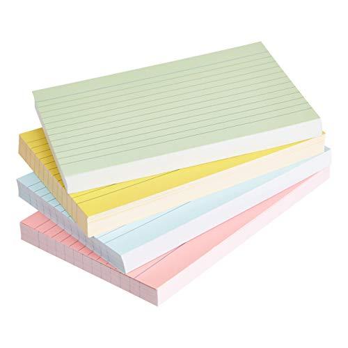 Amazon Basics - fichas de cartulina con rayas, tamaño A6, Varios colores (Paquete de 200)